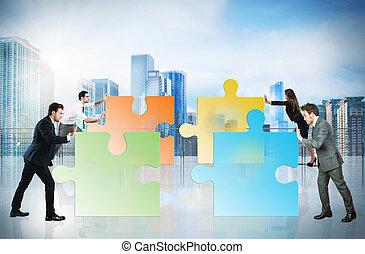 concetto, di, lavoro squadra, e, associazione, con, businesspeople, e, puzzle.