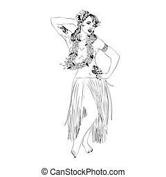 concetto, di, retro, donna, donna ballando, in, hawaiano, dress.