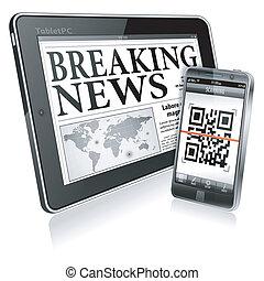 concetto, -, digitale, notizie, su, pc tavoletta, e, smartphone