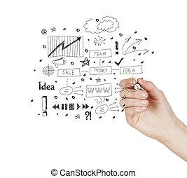 concetto, disegnare, affari, successo, schermo, grafico, virtuale, mano