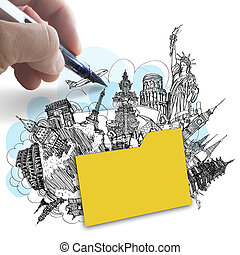 concetto, disegnare, intorno, successo, viaggiare, mano, mondo, cartella, sogno