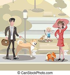 concetto, disegno, cani, persone