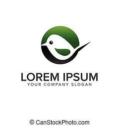 concetto, disegno, sagoma, logotipo, uccello verde