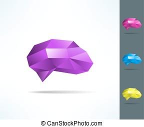 concetto, disposizione, manifesto, coperchio, idea, poly, geometrico, cervello, aviatore, disegno, basso, opuscolo, creativo, design.