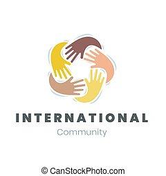 concetto, diversità, comunicazione, comunità, unità, vettore, illustrazione, sagoma, logotipo, emblema, amicizia internazionale