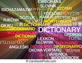 concetto, dizionario, wordcloud, ardendo, multilanguage, fondo
