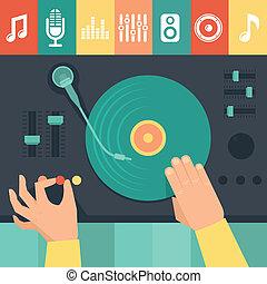 concetto, dj, -, piattaforma girevole, vettore, musica, mani