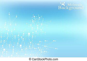 concetto, dna, sfondo., dots., system., comunicazione, medico, atomo, molecola, linee, fondo., vettore, collegato, nervoso, illustration., neurons., illusione, struttura, scientifico