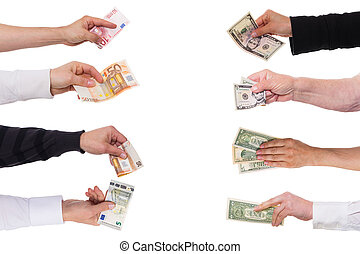 concetto, dollaro, contro, euro