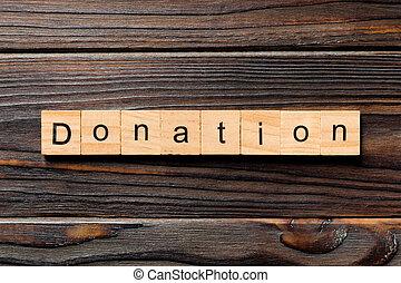 concetto, donazione, block., testo, legno parola, tavola, scritto