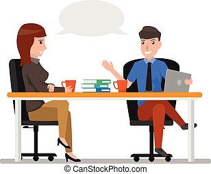 concetto, donna, discutere, ufficio, seduta, communication., carattere, businesspeople, affari, parlare, vettore, chiacchierata, uomo, cartone animato, illustration.