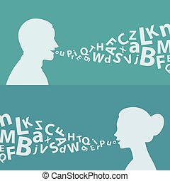 concetto, donna, lettere, uomo