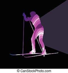 concetto, donna, silhouette, colorito, illustrazione, vettore, fondo, sci