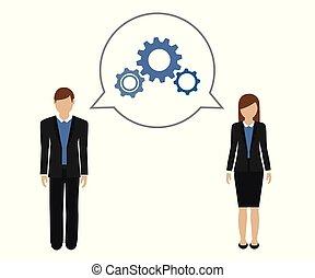 concetto, donna, sviluppare, uomo affari