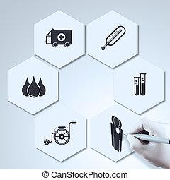 concetto, dottore, icone mediche, mano, medicina, disegno
