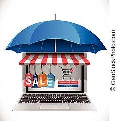 concetto, -, e-commercio, protezione, acquirente, consumatore