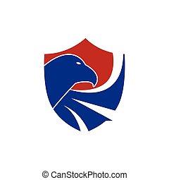 concetto, eagle., scudo, protezione