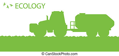 concetto, ecologia, organico, manifesto, vettore, fondo, fertilizzante, agricoltura, trattore