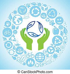 concetto, ecologia, -, segno, vettore, mani, riciclare