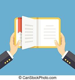 concetto, educazione, book., mani