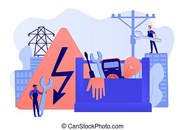 concetto, elettricista, illustrazione, servizi, vettore