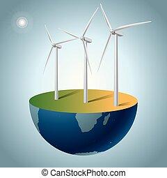 concetto, energia, generatori, alternativa, earth., vento