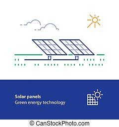 concetto, energia, verde, solare, icona, logotipo, linea, pannelli