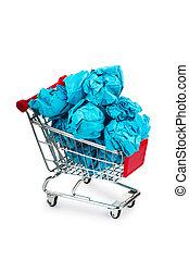 concetto, fa spese colore, recylcing, carrello, carta
