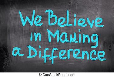 concetto, fabbricazione, noi, differenza, credere