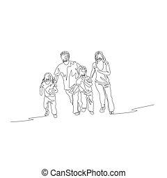 concetto, famiglia, continuo, uno, running., linea, felice