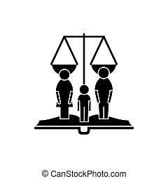 concetto, famiglia, diritti, isolato, illustrazione, segno, fondo., vettore, nero, icona, simbolo
