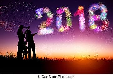 concetto, famiglia, osservare, fireworks, 2018, anno, nuovo, felice