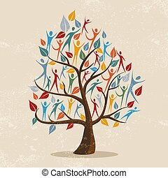 concetto, famiglia, persone, albero, illustrazione, icona