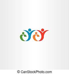 concetto, famiglia, vettore, logotipo, felice, icona