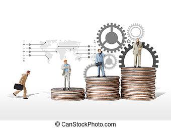 concetto, figura, successo, f, spostare, affari, miniatura,...