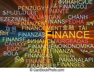 concetto, finanza, ardendo, wordcloud, multilanguage, fondo