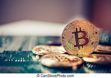 concetto, finanza, electronics., disposto, evolutivo, pezzo, moneta