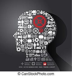 concetto, finanza, icone, fare, elementi, piccolo, illustration., uomo, .vector, pensare, ingranaggio