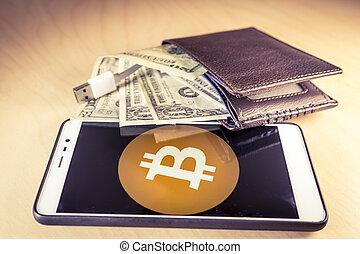 concetto, finanziario, cavo usb, bitcoin, ci dollari, portafoglio, smartphone, logotipo