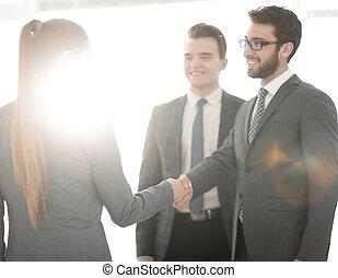 concetto, finanziario, .handshake, partners., affari
