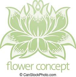 concetto, fiore, disegno, floreale, orchidea, icona