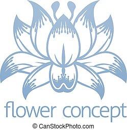 concetto, fiore loto, disegno, floreale, icona