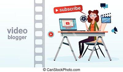concetto, flusso, blogger, abbonarsi, donna, video, linea, blogging