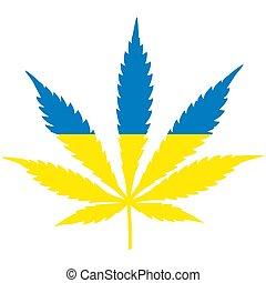 concetto, foglia, forma, ucraino, legalization, flag., marijuana, canapa, ukraine.