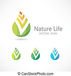 concetto, foglia, set., vettore, logo., icona