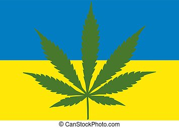 concetto, foglia, ucraino, legalization, flag., marijuana, marijuana, canapa, ukraine., fondo