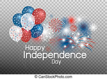 concetto, fondo, balloon, vettore, trasparenza, firework, giorno, indipendenza, felice