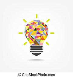 concetto, fondo, luce, coperchio, idea, illustrazione, creativo, aviatore, disegno, background.vector, manifesto, opuscolo, bulbo