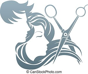 concetto, forbici, donna, uomo, parrucchiere