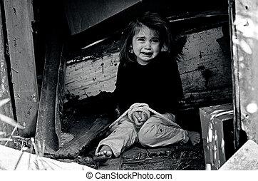 concetto, foto, -, trafficking, umano, bambini